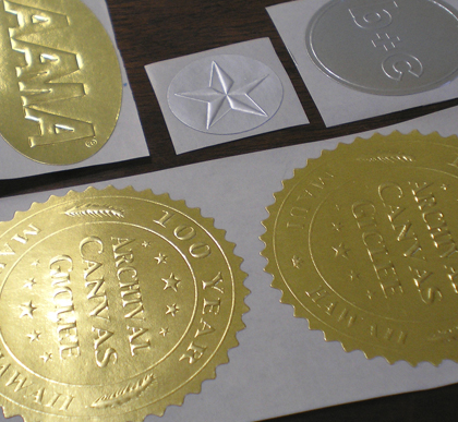 blind emboss stickers on silver and foil stock